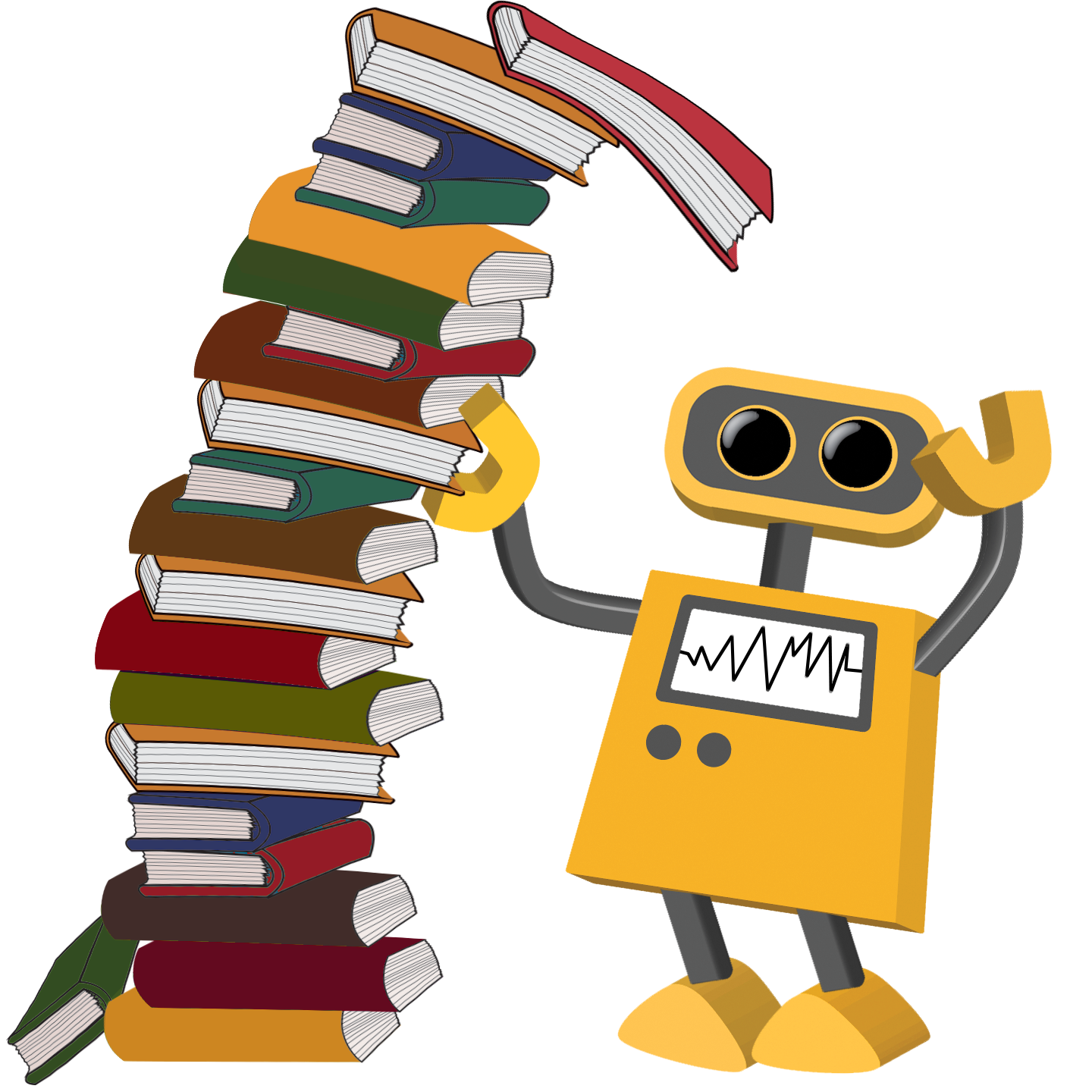 Color cartoons tim robot. Books clipart tower