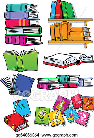 Stock several different illustration. Books clipart vector