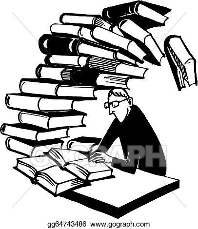 Books clipart vector. Art schoolboy with huge