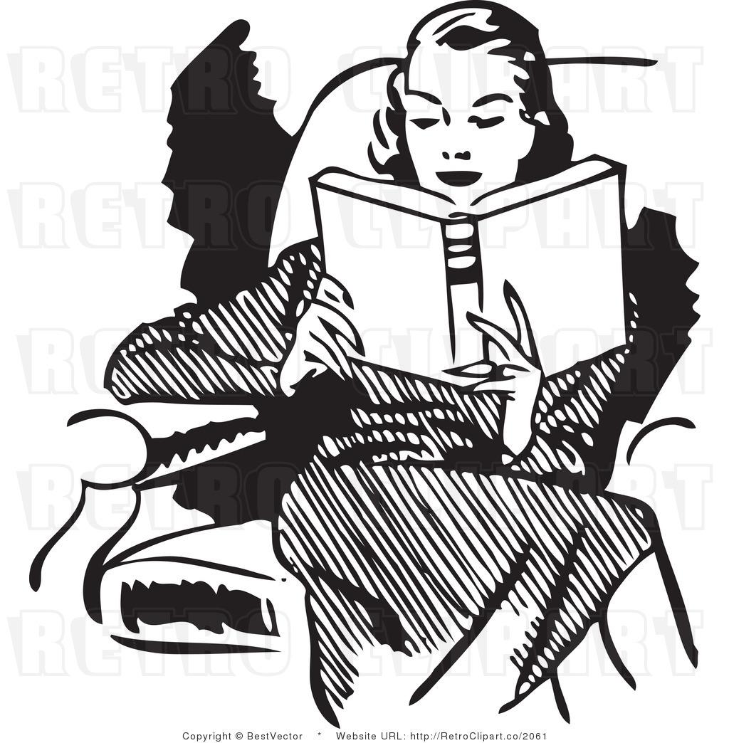 Woman reading clip art. Books clipart vintage