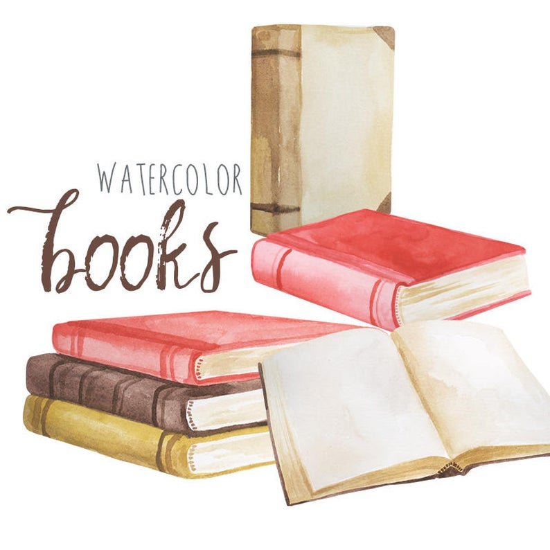 Watercolor book clip art. Books clipart vintage
