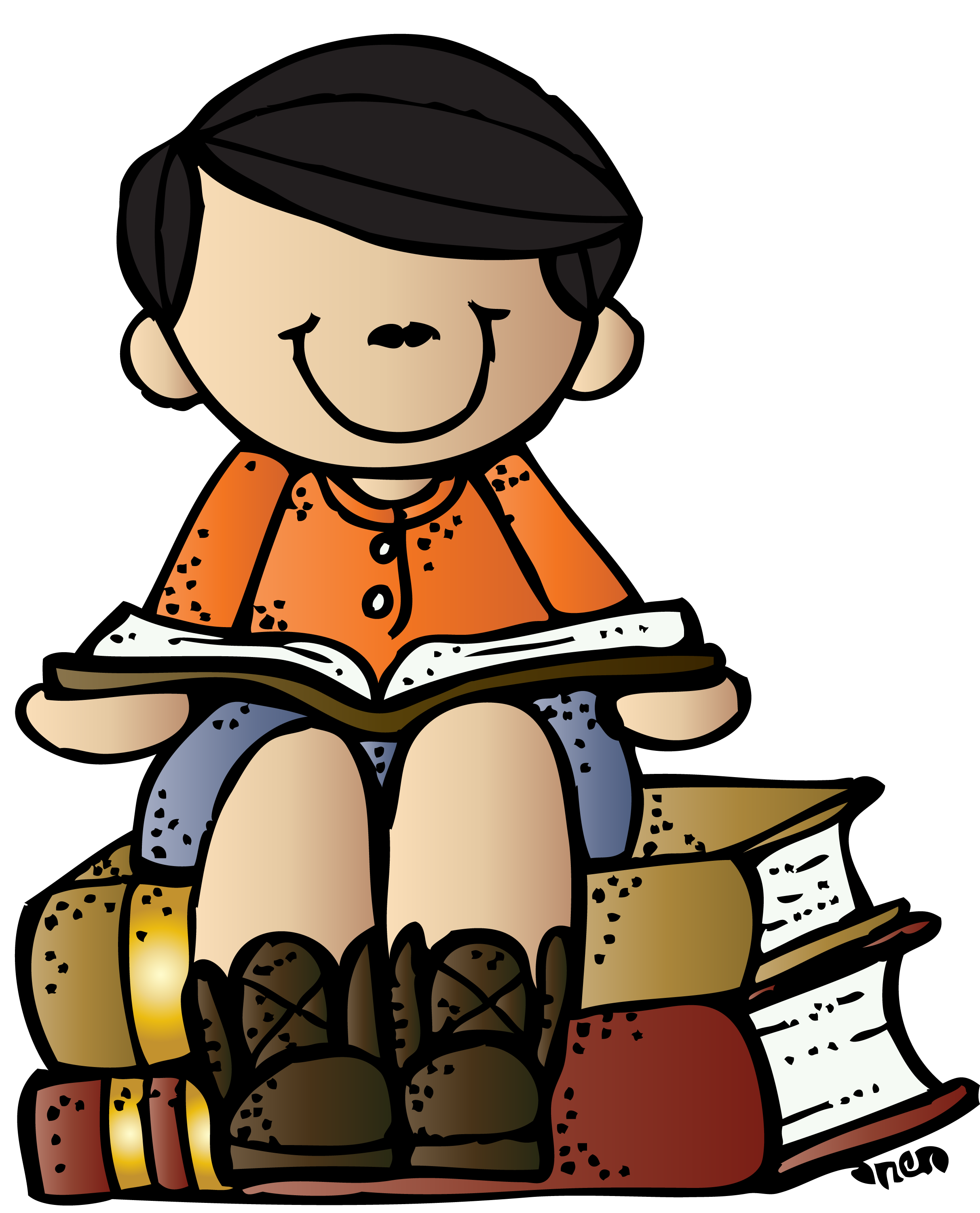 Homework clipart elementary school. Melonheadz writing boy on