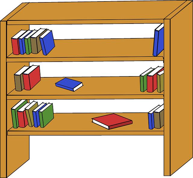 Table cartoon furniture line. Bookshelf clipart animated