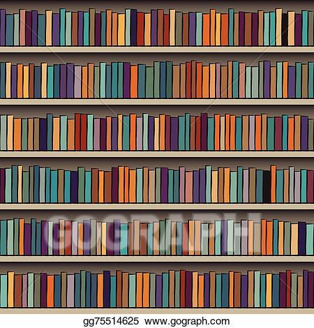 Bookshelf clipart background. Vector stock illustration gg