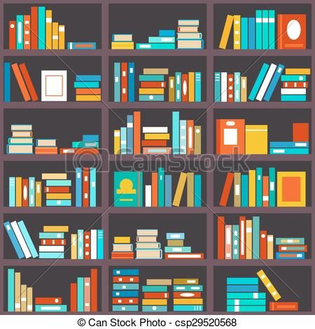 Bookshelf clipart background. Vector seamless stock illustration