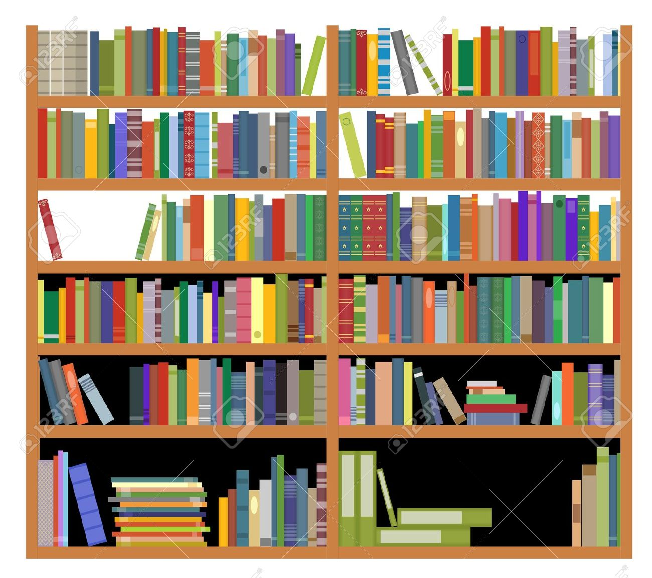 collection of library. Bookshelf clipart background