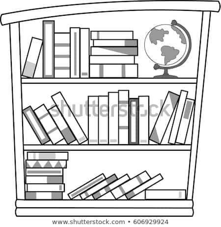 Image collections book . Bookshelf clipart black and white