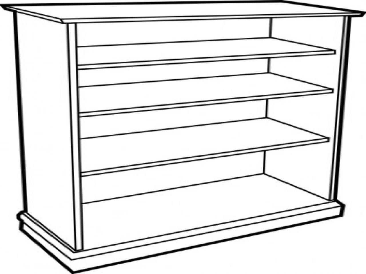 Bookshelf clipart black and white. Free download clip
