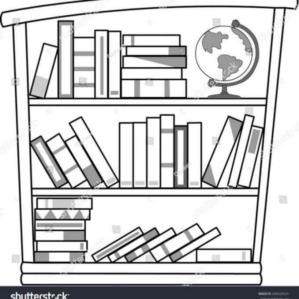 Bookshelf clipart black and white. Bookshelves image collections book