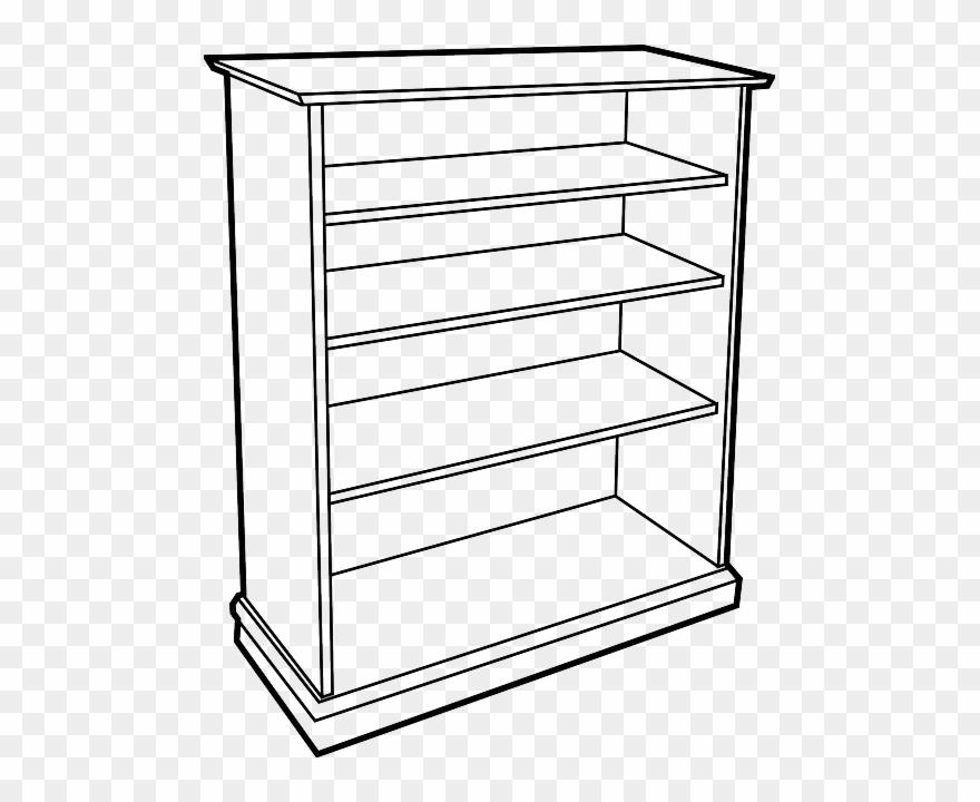 Shelf clip art png. Bookshelf clipart black and white