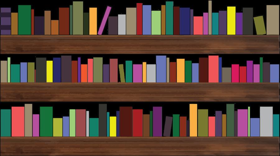 Table book library transparent. Bookshelf clipart cartoon