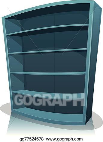 Vector art empty library. Bookshelf clipart cartoon