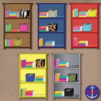 Organized clipart. Colorful bookshelves classroom clip