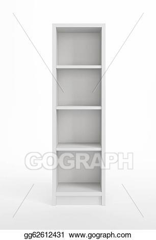 Bookshelf clipart display cabinet. Stock illustration isolated empty