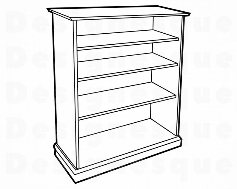 Outline svg files for. Bookshelf clipart furniture