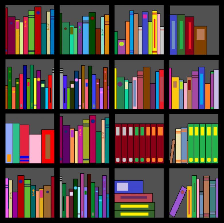 Bookshelf clipart genre. Book shelf clip art