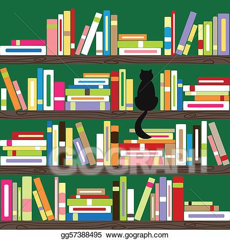 Vector illustration colorful books. Bookshelf clipart genre