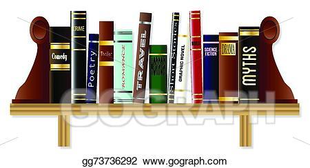 Vector illustration book shelf. Bookshelf clipart genre