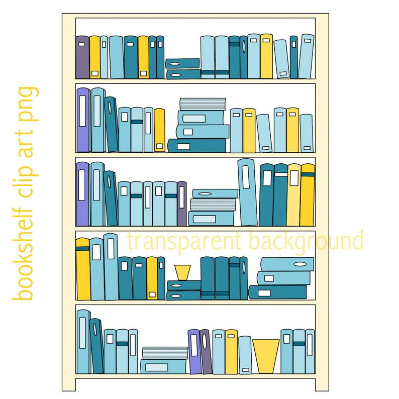 Bookshelf clipart long. Clip art instant download