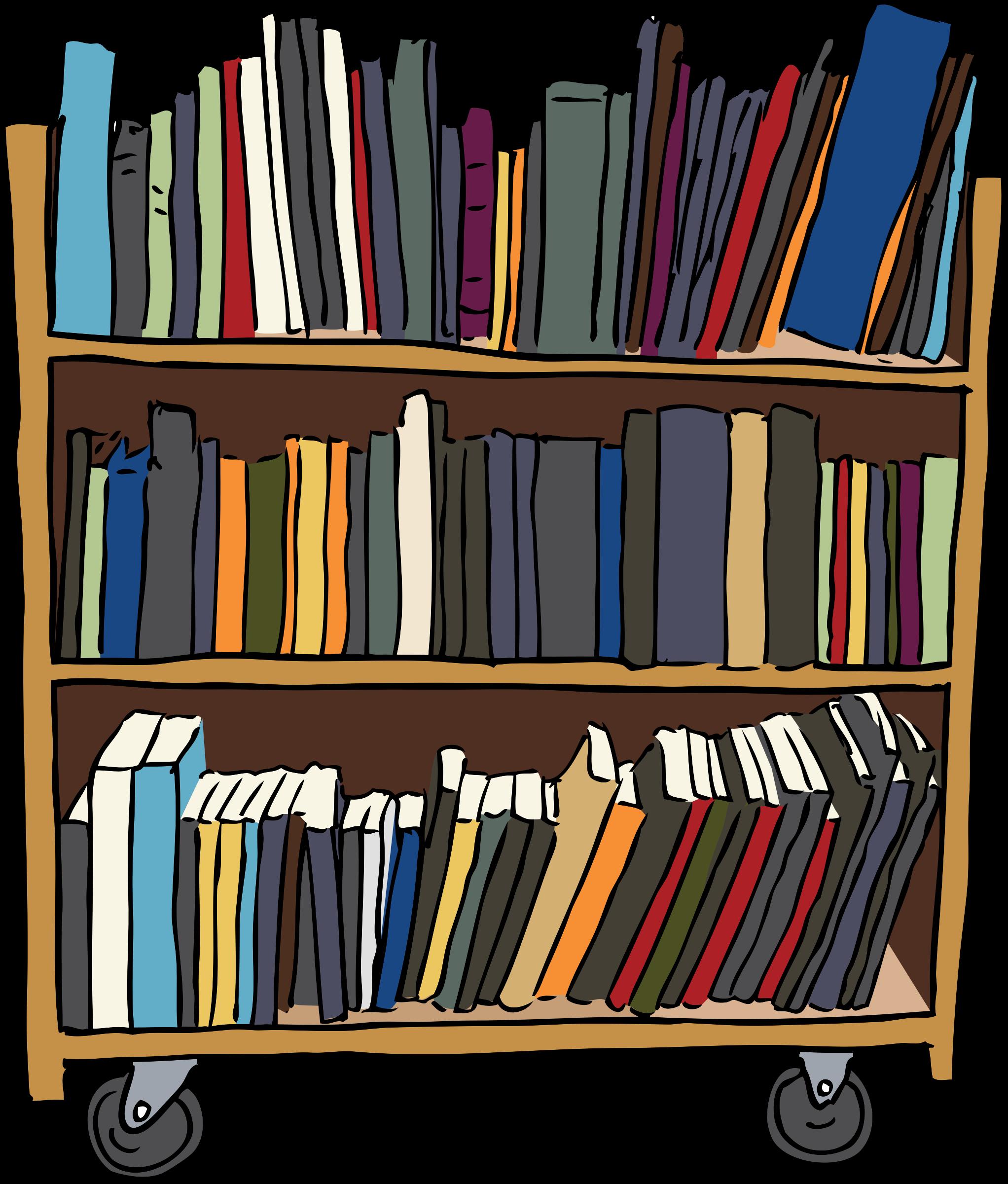 Class library shelf . Bookshelf clipart long