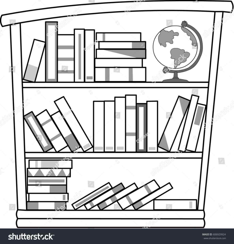 Black and white . Bookshelf clipart long