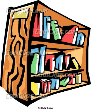 Bookshelf clipart neat. With books on shelf