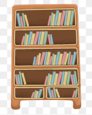 Bookshelf clipart neat. Colored neatly booked with