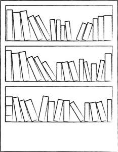 Bookcase black and white. Bookshelf clipart outline