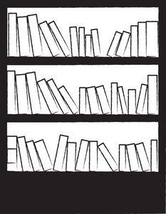 Bookshelf clipart outline. Image black and white