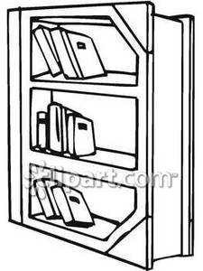 Bookshelf clipart outline.  collection of black