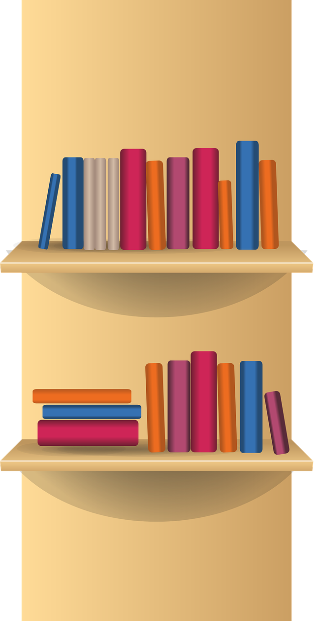 Bookcase food free to. Library clipart library shelf