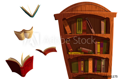 Clip Art Set: The Books and BookShelf isolated on White ...