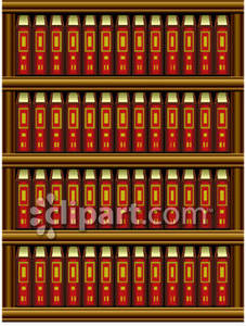 Realistic Bookshelf With Books - Royalty Free Clipart Picture
