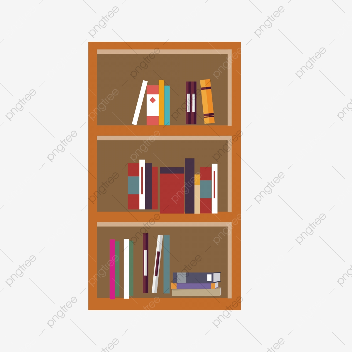Bookshelf clipart simple. Cartoon ai material