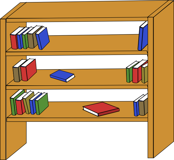 Clipart table empty table. Furniture library shelves books