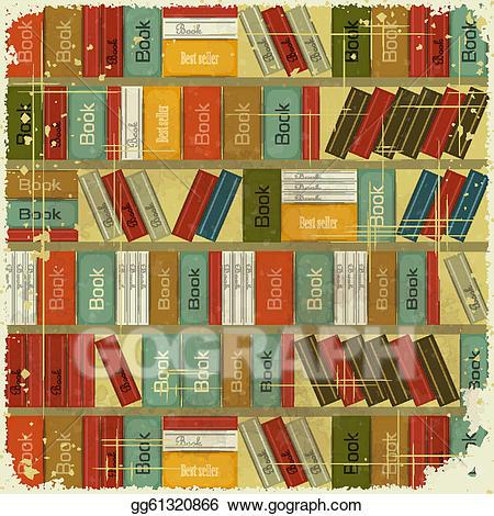 Bookshelf Clipart Vintage Vector Illustration Book Background