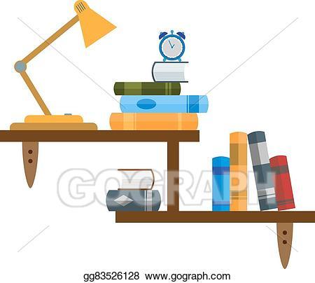 Bookshelf clipart wall shelf. Vector stock clip art