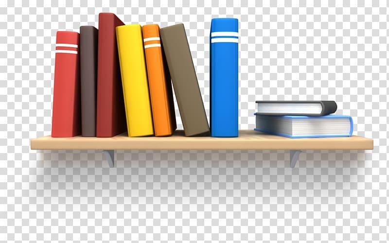 Bookshelf clipart wall shelf. Assorted color books on