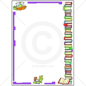 collection of reading. Bookworm clipart border
