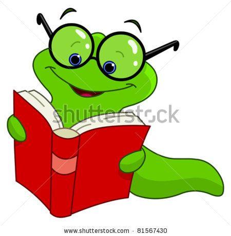 Stock vector fair themes. Worm clipart book reading caterpillar