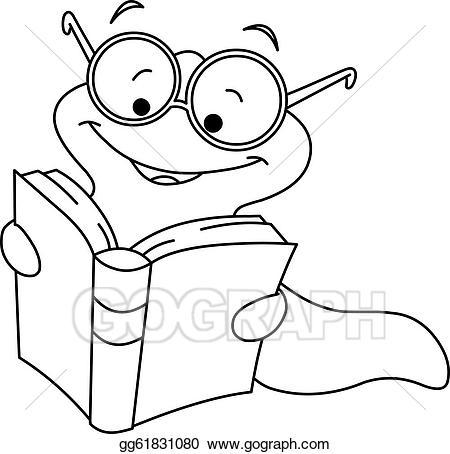 Worm clipart nerd. Vector art outlined book
