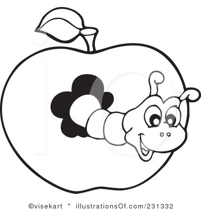 Worm clipart conjunction. Book black and white