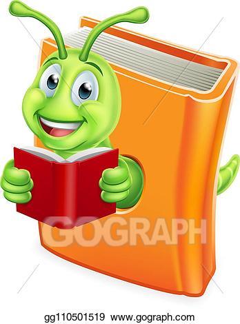 Vector illustration bookworm in. Worm clipart book reading caterpillar
