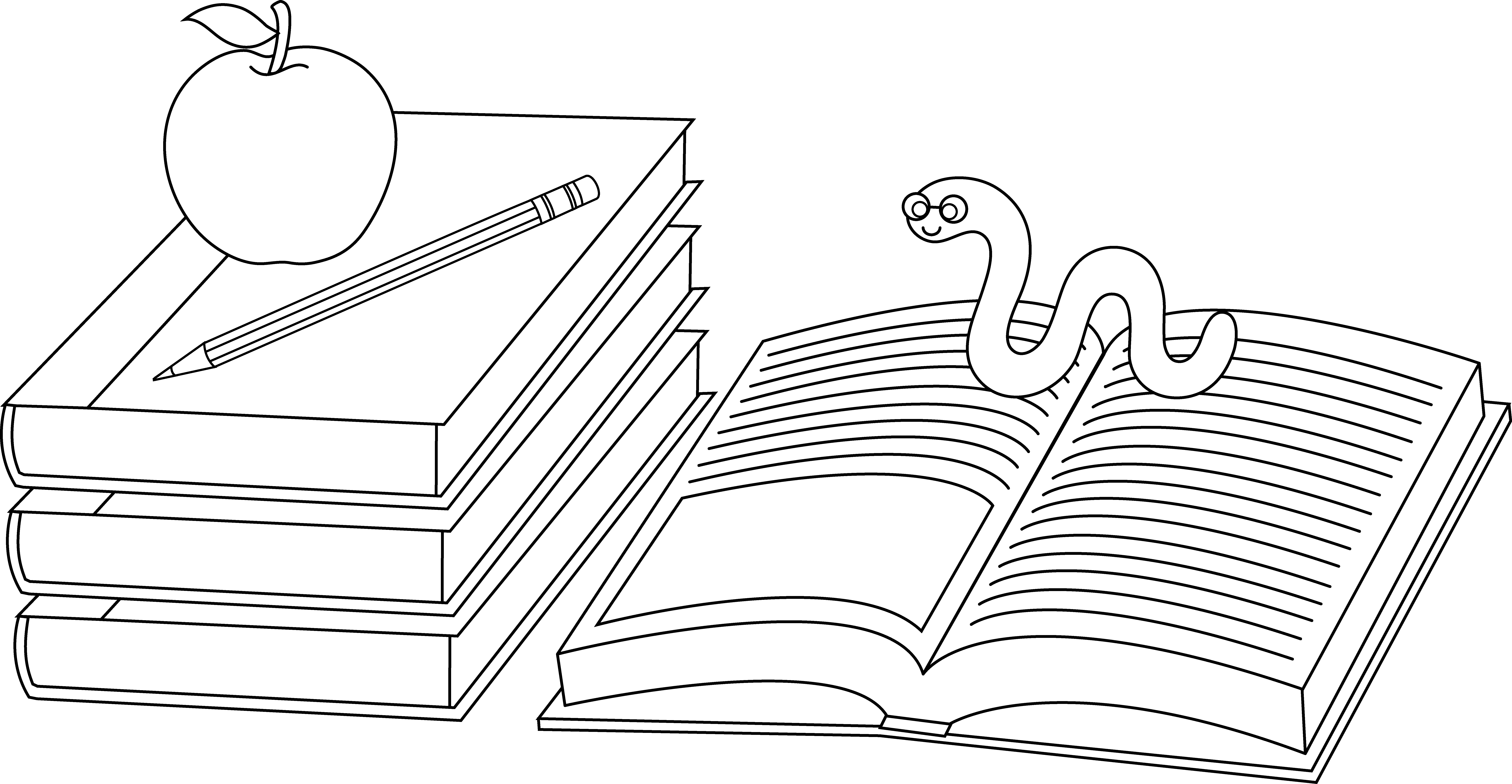 Worm clipart bookworm. Colorable school books and