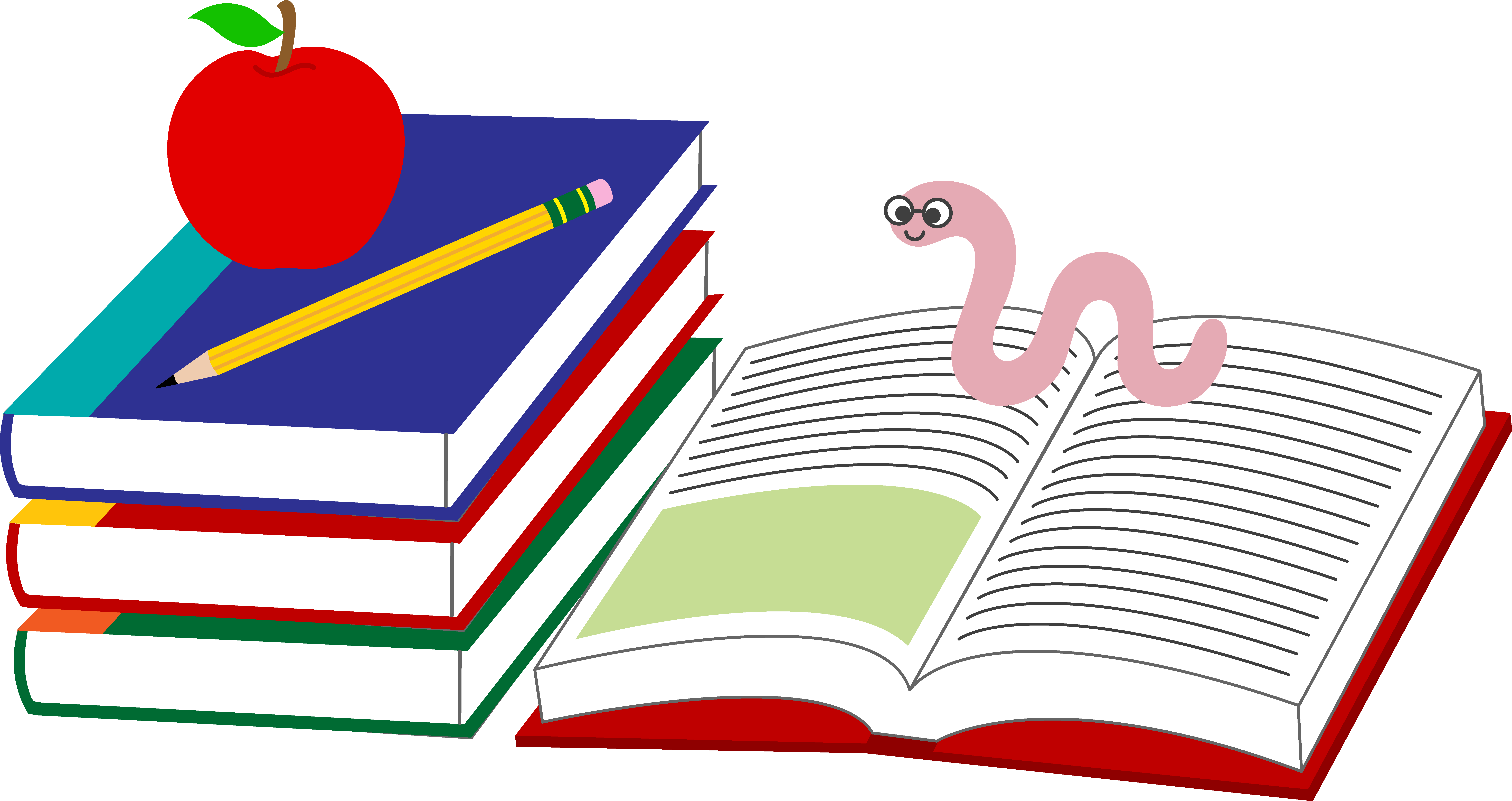 Pencil clipart book. School books and worm