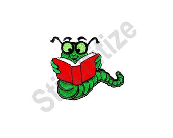 Bookworm clipart embroidery. Etsy machine design
