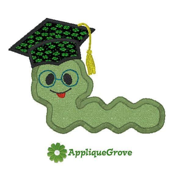 Worm graduate design work. Bookworm clipart embroidery