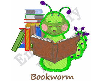 Etsy machine design. Bookworm clipart embroidery