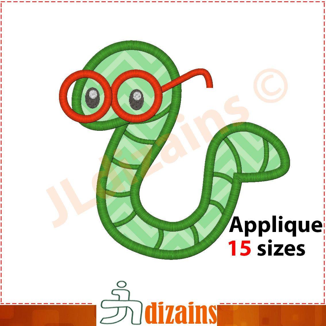 Bookworm clipart embroidery. Book worm applique design