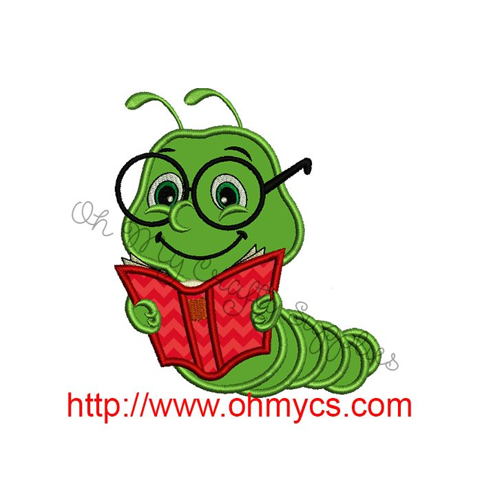 Applique design . Bookworm clipart embroidery